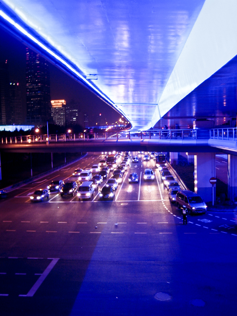 Traffic in Shanghai in the Night